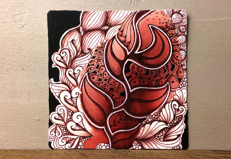 Zentangle, Pattern, Tangle, Aloha, Diva Challenge, Mixed Media